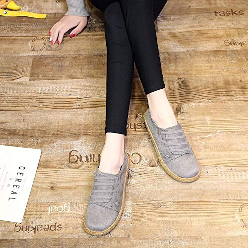 Plana Confort Joker Casual gray AIMENGA Femenina Simple Zapatos Shoes Calzados De De Estudiante Suela De Planos Fondo Otoñal Gamuza Flexible F77AOt