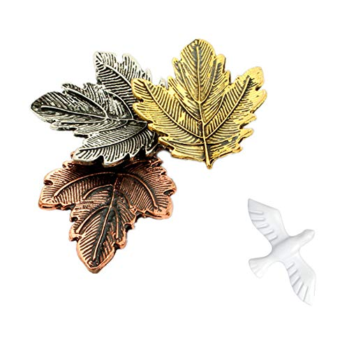 Thanksgiving Brooch, Vintage Maple Leaves Brooch Pins & Flying Peace Dove Collar Pin, Women's Antique Brooch Pins Retro Maple Leaf Corsage Pin Gift for Unisex (Maple Brooch & Dove Collar Pin) - Gold Leaf Circle Pin
