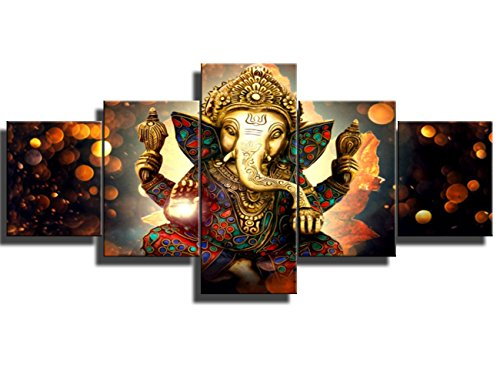 Black and White Artwork for Wall Paintings for Bedroom 5 PCS Ganesha Hindu God Canvas Pictures Artwork Home Decor Painting Modern Posters and Prints Framed Gallery-wrapped Ready to Hang(50''Wx24''H) by Warm Artwork