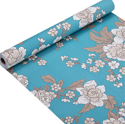 Floral Contact Paper Self Adhesive Shelf Drawer Liner Makeup Jewelry Cabinet Sticker Peel and Stick Peony Pattern Wallpaper 17.7 x 196 Inches