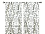 Pair of rod curtains 50'' wide panels ecru taupe floral berlin window treatment nursery cotton drapes 84 96 108
