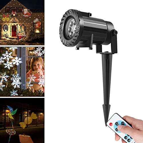 Kyerivs Christmas LED Projector Light with 15 Replaceable Patterns, RF Remote Control, IP65 Waterproof for Decoration Lighting on Christmas Halloween Holiday Party Exterior Holiday Decorations