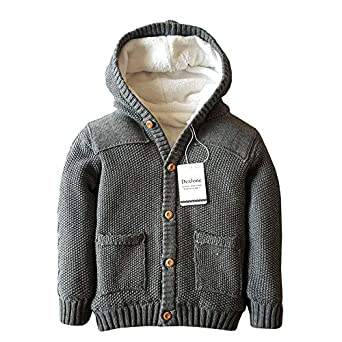 Dealone Baby Boys Hoodies Toddler Long Sleeve Pocket Knit Sweaters Button Cardigan Coat