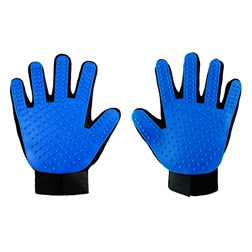 Happy Pet Grooming Glove - Gentle Deshedding Brush Glove - Efficient Pet Hair Remover Mitt - Massage Tool Perfect for Dogs & Cats with Long & Short hair (Blue, One Pair) by Happy Pet Grooming