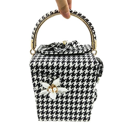 amp;OS Party Women Totes Bag Evening Handle Purse Top Houndstooth ZJ Fashion Clutch Clutches Handbag Day Flower Tdw5nxP