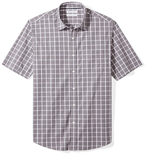 Amazon Essentials Men's Regular-Fit Short-Sleeve Casual Poplin Shirt, grey windowpane, X-Large (Casual Men Xl)