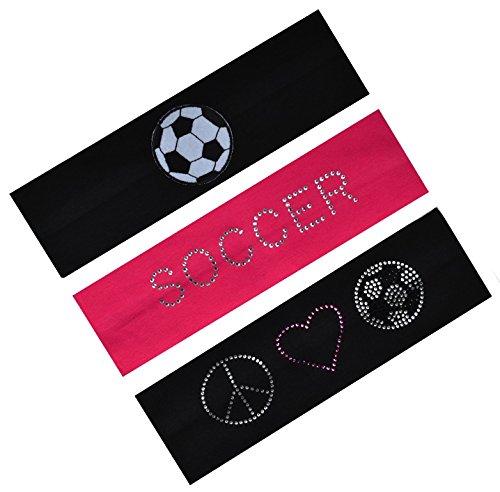 Set of 3 Soccer Fan Cotton Stretch Rhinestone Patch Headbands