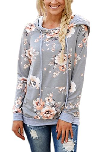 Gray Floral Pullover - EIFFTER Womem Floral Print Pullover Hoodie Casual Long Sleeve Drawstring Hooded Sweatshirt with Pocket (Medium, Light Grey)