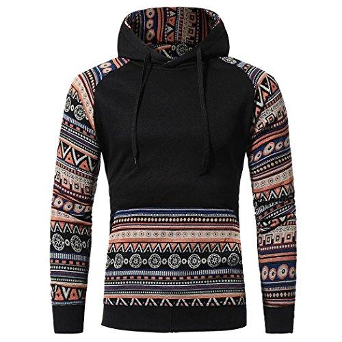 Men Retro Long Sleeve Hoodie, Leyorie Casual Drawstring Hooded Sweatshirt Tops Jacket Coat Outwear with Pocket (XL, (Basic Logo Wool Blend)