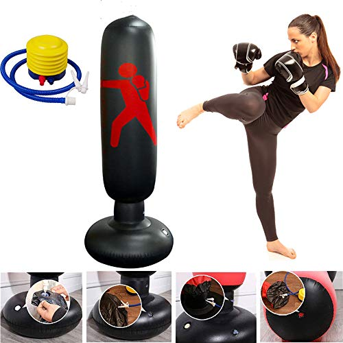 xingxinqi Kids Inflatable Punching Bag 160cm Training Bag Kickboxing Bag Inflatable Free-Standing Fitness Boxing Bag with Air Pump (Best Boxing Bag Stand)