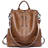 Women Backpack Purse PU Leather Fashion Travel Casual Detachable Covertible Ladies Shoulder Bag brown