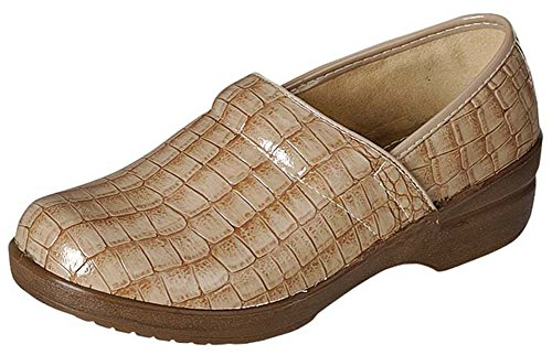 Refresh Footwear Women's Croc Print Embossed Slip-On Comfort Work Clog (5.5 B(M) US, Tan)