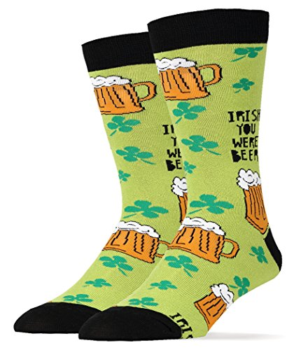 Oooh Yeah Socks Men Crew Cotton Funny Novelty Irish Beer -