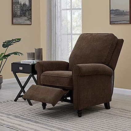 Domesis Chester Hill Push Back Recliner Chair in Chocolate Brown Chenille