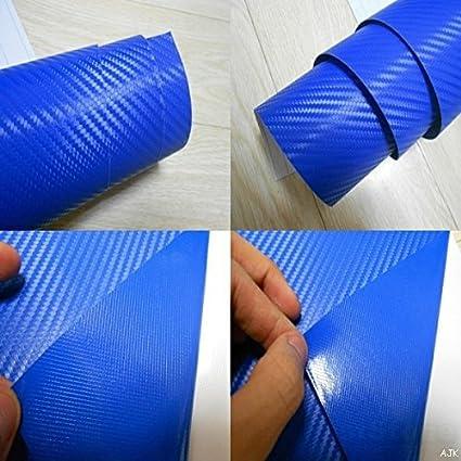 3D Bleu Fibre Carbone Texture Emballage Drap Vinyle Dé calque Film - Bleu, 50cm x 1.52m AJK