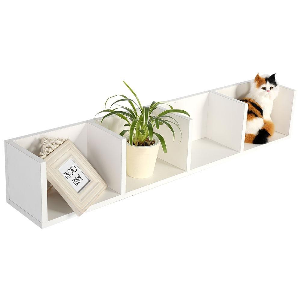 GOTOTOP CD Storage Box,Wall Mount 34 Inch Media Storage Rack CD DVD Organizer Metal Floating Shelf Unit 4 Cases (White)