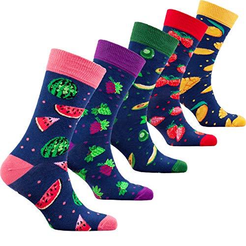 Socks n Socks-Men 5 pk Luxury Colorful Cotton Novelty Juicy Fruits Sock Gift Box