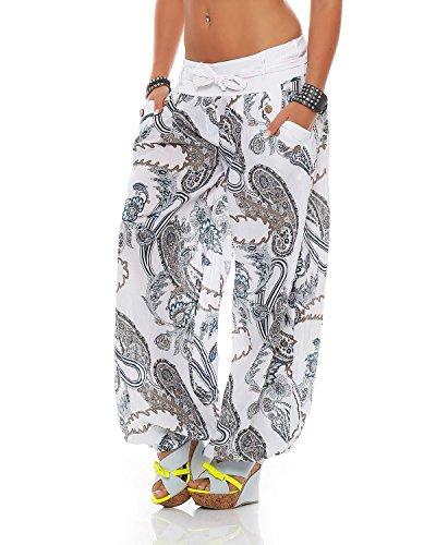 Taglia In Stampati Unica Con Cintura Pantaloni Summer Bloomers Ladies Cotone Zarmexx Bianco xpzOZqI