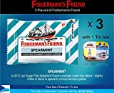 sugar free grape bubble gum - Fisherman's Friend Lozenges Spearmint Flavor Not Found in Fisherman's Friend U.S. (3 Flavors of Pack with 1 Mini Tin Boxes) Fresh Breath and Effective for Extra Strong Cough Suppressant Lozenges and Tin Box Collectibles Set