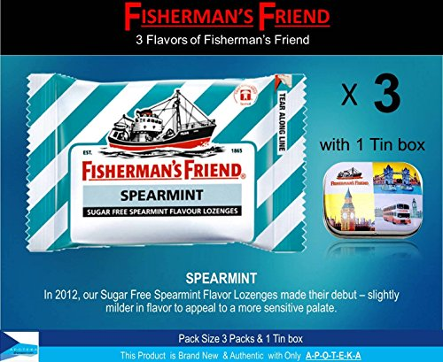(Fisherman's Friend Lozenges Spearmint Flavor Not Found in Fisherman's Friend U.S. (3 Flavors of Pack with 1 Mini Tin Boxes) Fresh Breath and Effective for Extra Strong Cough Suppressant Lozenges and Tin Box Collectibles Set)