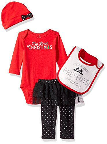 Simple Joys by Carter's Girls' 4-Piecemy First Christmas Set, Red/ Black Tutu, 6-9 Months