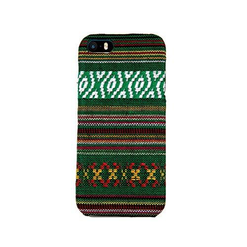 König-Shop Handyhülle aus Stoff-Case für Apple iPhone 5 / 5s / SE Cover Etuis Bumper Grün