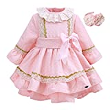 Lajinirr Newest Pink Bountique Printed Autumn Girls Dress with Bow with Handmade Headband Kids Dress Kid Clothing, 2Years