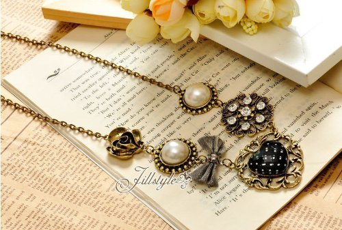 TOPSTARONLINE Pearl Bowknot Roses Heart Shaped Necklace