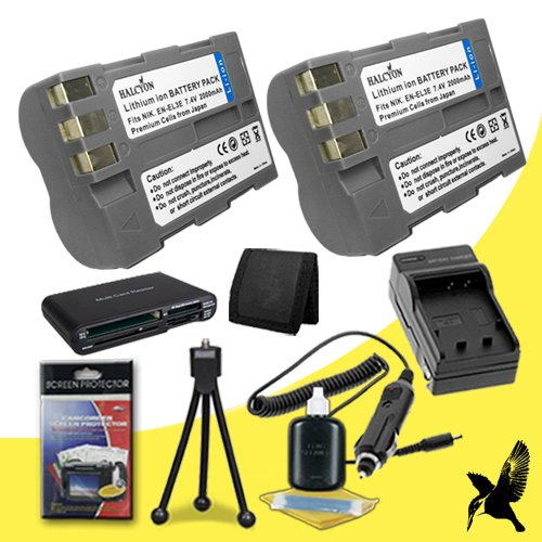 Two Halcyon 2000 mAH Lithium Ion Replacement EN-EL3E Battery and Charger Kit + Memory Card Wallet + Multi Card USB Reader + Deluxe Starter Kit for Nikon D70S 6.1 Megapixel Digital SLR Camera and Nikon EN-EL3E by Halcyon