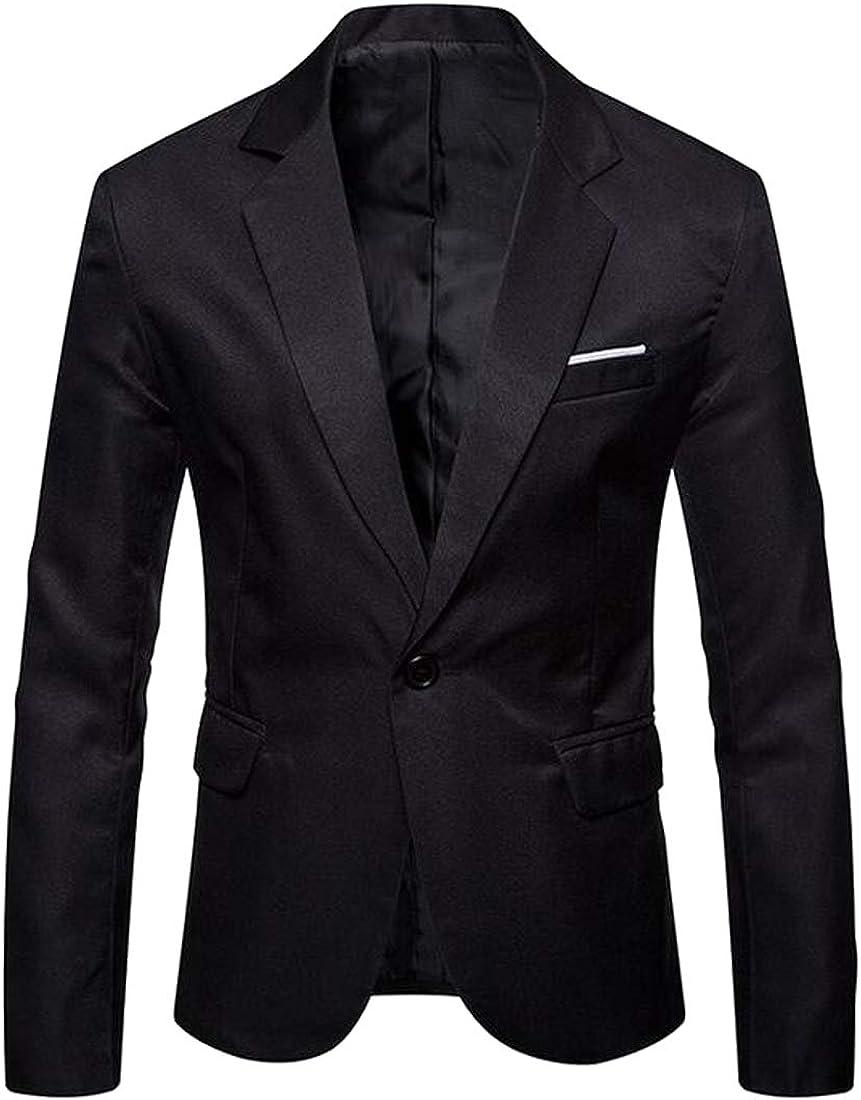 FSSE Men Casual Business 1 Button Loose Plain Suit Blazer Coat Jacket