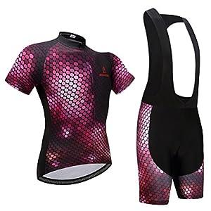 Uriah Women's Cycling Jersey Black Bib Shorts 3D Gel Padded Sets Short Sleeve Honeycomb Size 5XL(CN)
