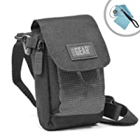 Protective Soft Camera Case with Accessory Pocket , Belt Loop & Detachable Shoulder Strap by USA GEAR - Works With Nikon 1 J5 , Coolpix A100 , AW130 and Many More Point and Shoot Cameras!