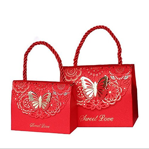 WPPOWER Hotel Gift Bags for Out of Town Guests Souvenirs, Wedding Favors,Toys, Graduation Presents, Party Treats, Lingerie(Pack of 10) (Red, L) (Gifts For Out Of Town Wedding Guests)