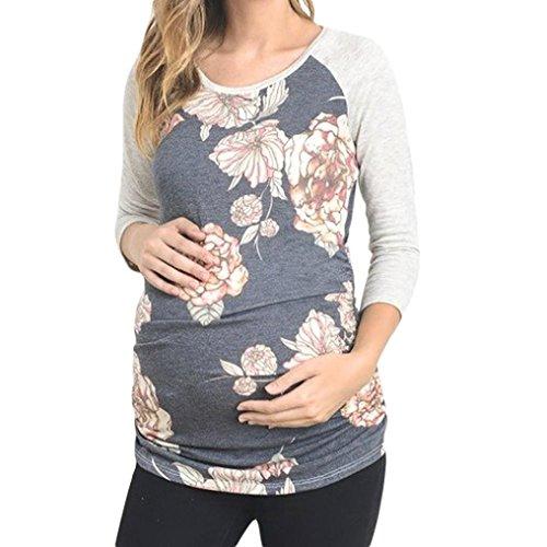 Price comparison product image Pregnant Shirt, Haoricu Hot Sale!Women's Plus Szie Nursing Tops Floral Long Sleeve Maternity T-Shirt Casual (Blue,  L)