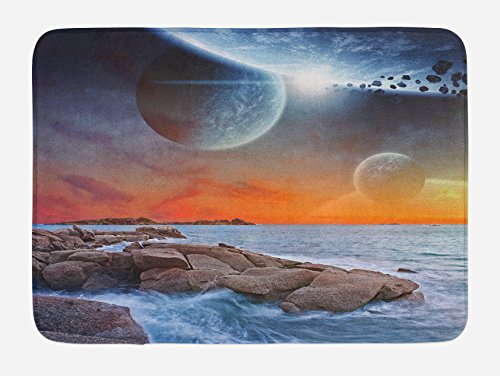 Ocean View Bath - Ambesonne Galaxy Bath Mat, Planet Landscape View From A Beautiful Rocky Beach Ocean Science Room Theme, Plush Bathroom Decor Mat with Non Slip Backing, 29.5 W X 17.5 W Inches, Blue Orange Umber