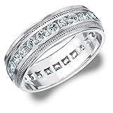 14K White Gold Diamond Milgrain Edge Eternity Wedding Band (2.0 cttw, F-G Color, VS1-VS2 Clarity)