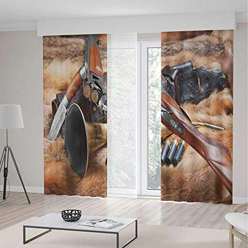 (ALUONI Blackout Bedroom Curtains,Hunting Decor,for Living Room,Hunting Materials on Fur Rifle Ammunition Cartridge Knife Sheath Decorative2 Panel Set,103W X 83L Inches)