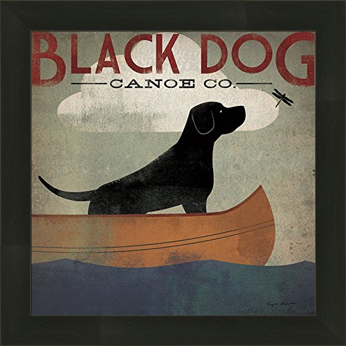 Black Dog Canoe Co by Ryan Fowler 14x14 Lab Labrador Boat Lake Whimsical Sign Advertisement Ad Framed Art Print ()