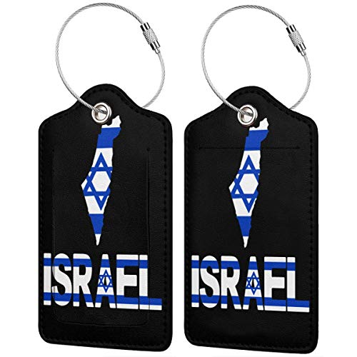 Luggage Tag Leather Tags Israel Text With Flag Map Full Privacy Cover Name ID Labels from Ling Lake