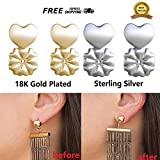 #3: MAGICBAX Earring Back Lifters (Set of 4) - 2 Pairs Of Adjustable Hypoallergenic Earring Lifts ( 1 Sterling Silver Pair and 1 Gold 18K Plated) - AS SEEN ON TV! (2018)