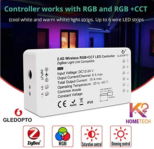 GLEDOPTO RGB+CCT Zigbee Smart LED Light Strip Controller  for Amazon Alexa Echo
