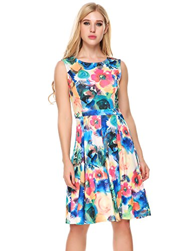 ANGVNS Casual Floral Sleeveless Pleated