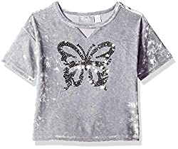 Girls Short Sleeve Sequin Top