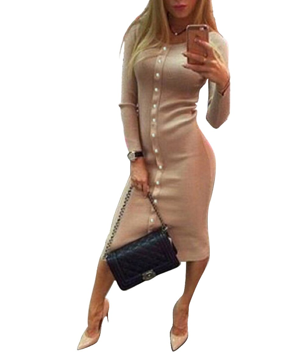 Roselux Women's Rib-Knit Calf-Length Midi Dress Fitted Stretch Sexy Sweater Warm Dress for Party (Khaki,XL)