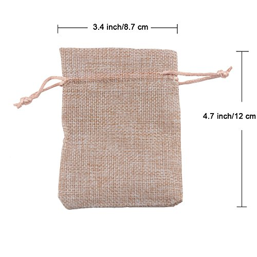 Fyess 20 PCS Christmas Party Bags Burlap Bags with Drawstring Gift Bags for Wedding Party,Arts & Crafts Projects, Presents, Snacks & Jewelry,Christmas Natural Muslin Drawstring Bags 100% Cotton Wove by Fyess (Image #2)'