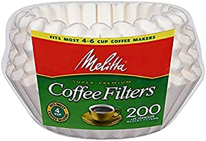 Melitta (63112C) Super Premium 8-12 Cup Basket Coffee Filters, White, 200 Count (Pack of 12)