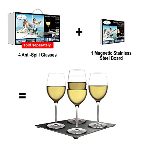 Attractive magnetic stainless steel board for anti spill wine glasses 8 by 8 place them - Anti spill wine glass ...