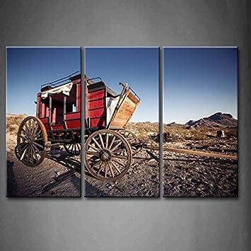 3 Panel Wand Kunst A Horse Wagon In Der Wuste Gras Boden Hill Die