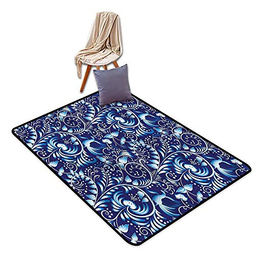 (Outdoor Patio Rug,Navy Folk Chinese Theme Swirl,Anti-Static, Water-Repellent)
