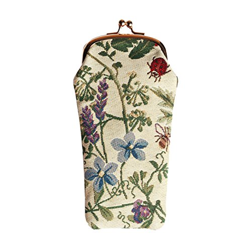 Light Floral Eyeglasses Pouch Sunglasses Bag Spectacle Pouch with Sunflower Poppy Butterfly Dragonfly by Signare - Sunglasses Fly Girl